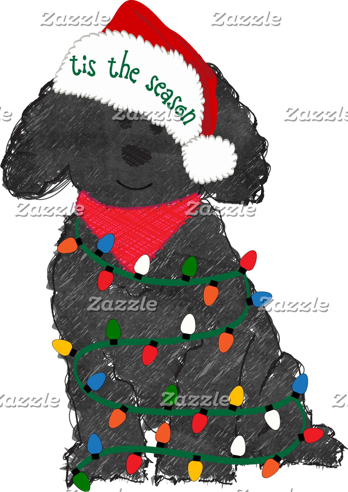 Christmas Lights Labradoodle