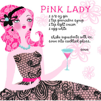 """Pink Lady Cocktail Recipe Poster Print"""