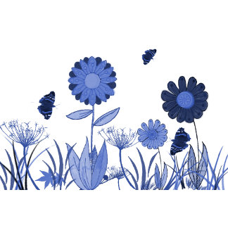 Painted blue floral meadow
