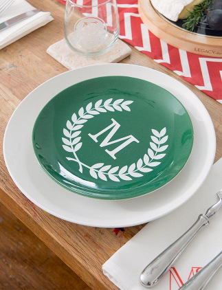 Dinnerware Gifts - Monogram Christmas Plates
