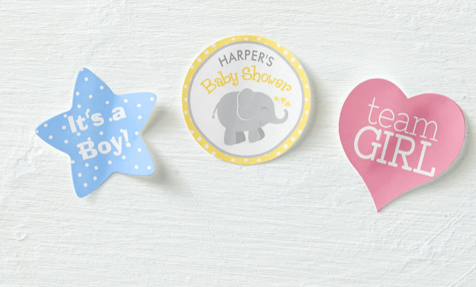 Browse our collection of baby shower stickers that you can customize!