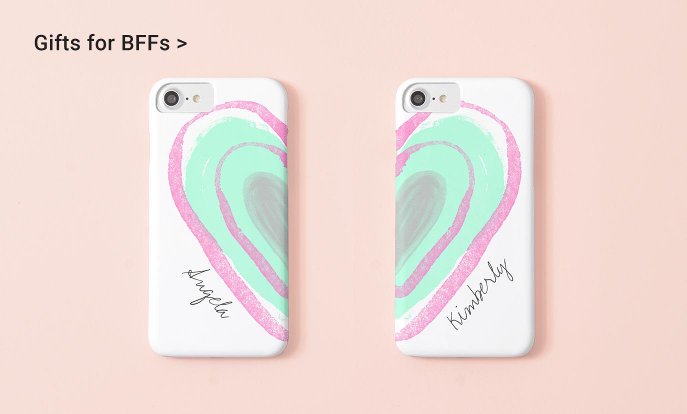 Gifts for BFFs - girly pink watercolor heart best friends matching iPhone 7 phone case