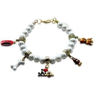 Bracelet de charme d'amoureux des chiens en or
