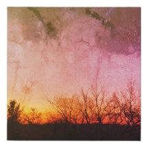 Sunrise over Trees Photo on Canvas