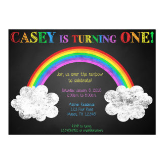 CHALKBOARD RAINBOW BIRTHDAY INVITATIONS