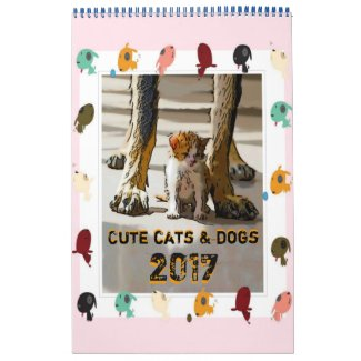 Cute cats and dogs calendrier