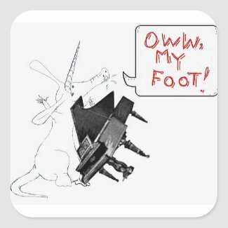 Oww, my foot! square sticker