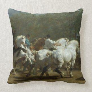 The Horse Fair by Rosa Bonheur Cotton Pillow