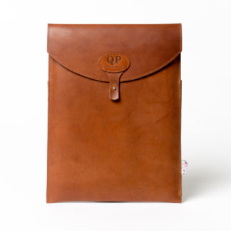 "Brown Leather Monogrammed 13"" Laptop Sleeve"