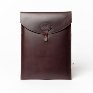 "Dark Brown Leather Monogrammed 13"" Laptop Sleeve"