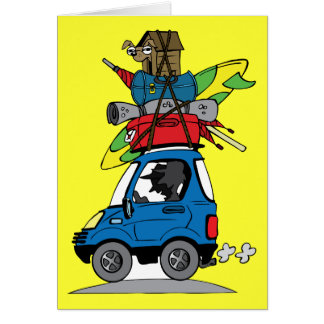 SVCA SURFING VACATION TRAVELING AUTO CAR LOADED LU GREETING CARDS