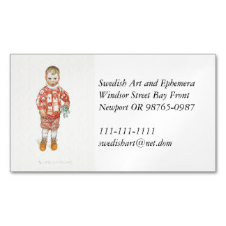 Sven with Dala Horse and Chisel Magnetic Business Card