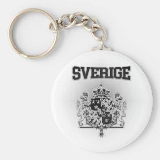 Sverige  Emblem Basic Round Button Keychain