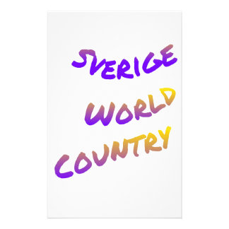 Sverige world country, colorful text art stationery