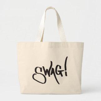 Swag Tag - Black Large Tote Bag