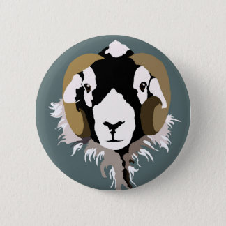 SWaledale sheep head 2 Inch Round Button