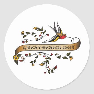Swallow and Scroll with Anesthesiology Classic Round Sticker