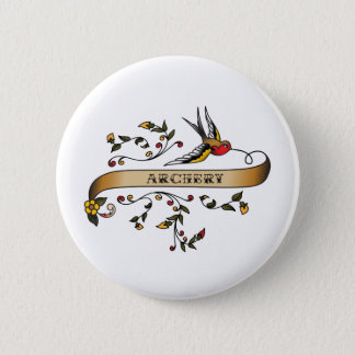 Swallow and Scroll with Archery 2 Inch Round Button