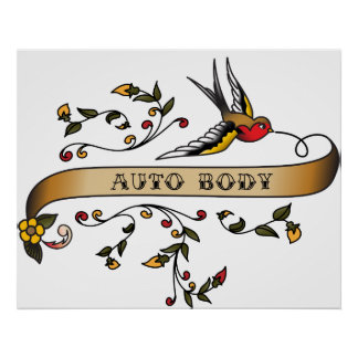 Swallow and Scroll with Auto Body Print