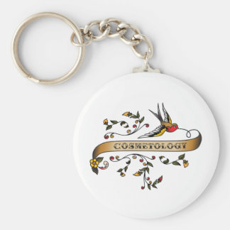 Swallow and Scroll with Cosmetology Keychain