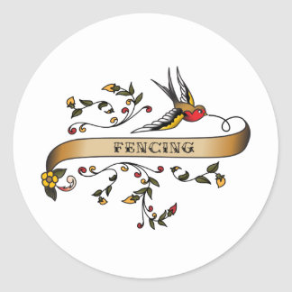 Swallow and Scroll with Fencing Classic Round Sticker