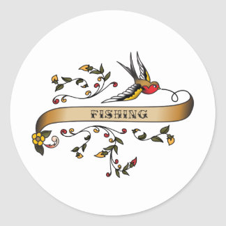 Swallow and Scroll with Fishing Classic Round Sticker