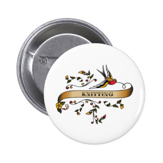 Swallow and Scroll with Knitting 2 Inch Round Button
