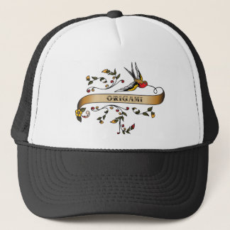 Swallow and Scroll with Origami Trucker Hat