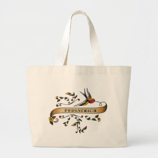 Swallow and Scroll with Pediatrics Large Tote Bag