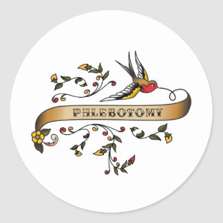 Swallow and Scroll with Phlebotomy Classic Round Sticker