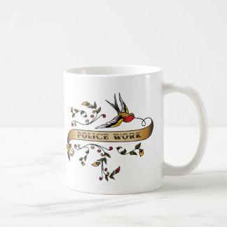 Swallow and Scroll with Police Work Coffee Mug