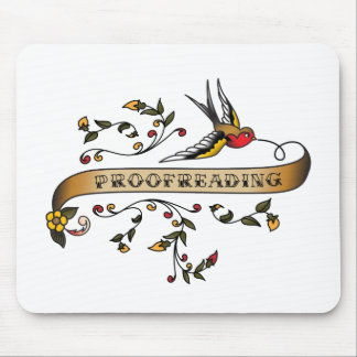 Swallow and Scroll with Proofreading Mouse Pad