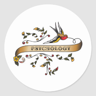 Swallow and Scroll with Psychology Classic Round Sticker