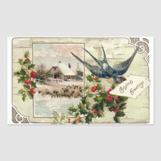 Swallow and Sheep Vintage Christmas Sticker