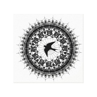 Swallow and Spiderweb Black and White Mandala Art Canvas Print