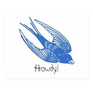 Swallow Bird Blue Postcard