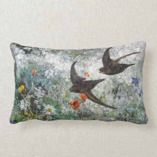 Swallow Bird Wildflower Meadow Floral Throw Pillow
