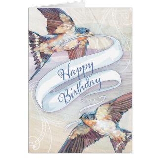 Swallow Birds Happy Birthday Card