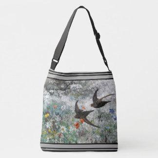 Swallow Birds Wildflower Flowers Tote Bag