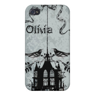 Swallow Black Bird Cage Vintage Damask iPhone Case Cases For iPhone 4