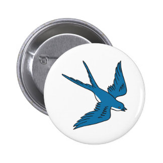 Swallow Flying Down Drawing 2 Inch Round Button