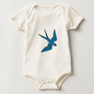 Swallow Flying Down Drawing Baby Bodysuit