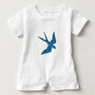 Swallow Flying Down Drawing Baby Romper