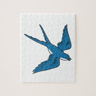 Swallow Flying Down Drawing Jigsaw Puzzle