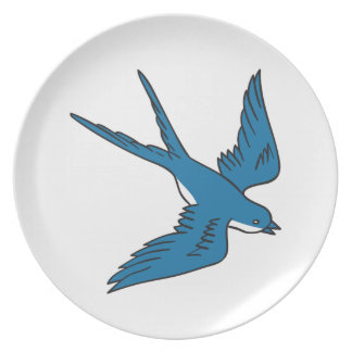 Swallow Flying Down Drawing Plate