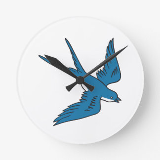 Swallow Flying Down Drawing Round Clock
