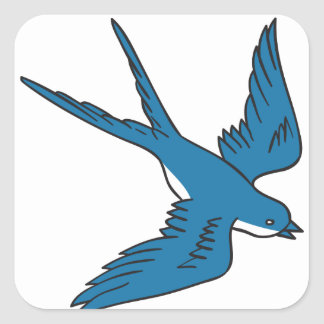 Swallow Flying Down Drawing Square Sticker