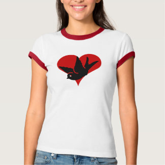 """""""Swallow Heart"""" Ginger and Tonic Red Ringer Rockab T-Shirt"""