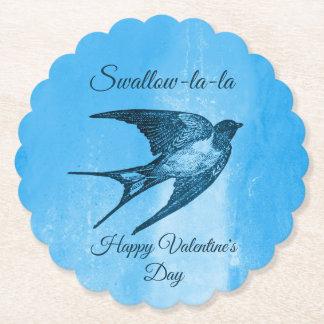 Swallow la-la naughty Valentine's Day Paper Coaster