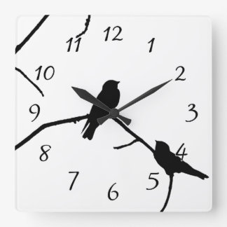 Swallow or Swifts Silhouette Love Bird Watching Square Wall Clock